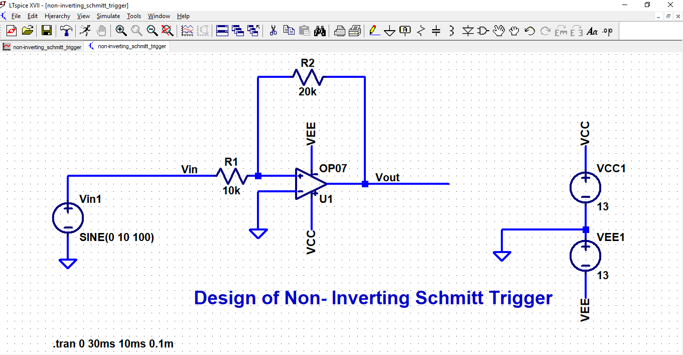 Inderjit Singh Linear Integrated Circuit Design Schmitt Trigger Circuits Simulation 1502 Hysteresis Curve For Non Inverting