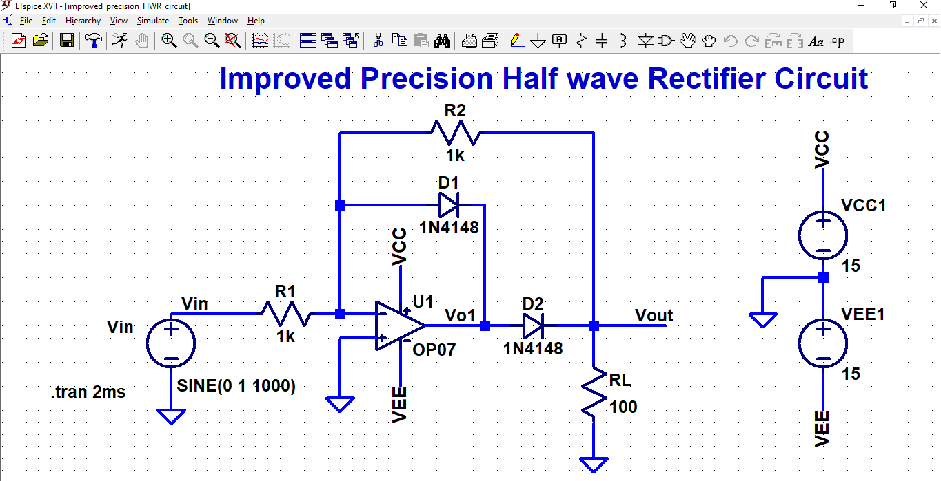 Inderjit Singh Linear Integrated Circuit Design Half Wave Rectifier Simulation 1702 Input Output Waveforms For Improved Precision 1